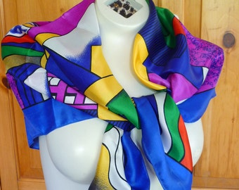 VTG Picasso Abstract Cubism Avant Garde Scarf