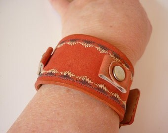 Vintage Wide Watchband Red Suede w Embroidery NOS