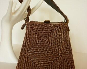 FAB 30s / 40s Bronze Metallic Corde Evening Bag Architectural