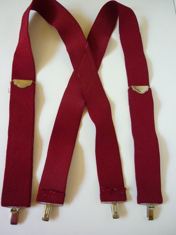 1970s Superwide Suspenders maroon