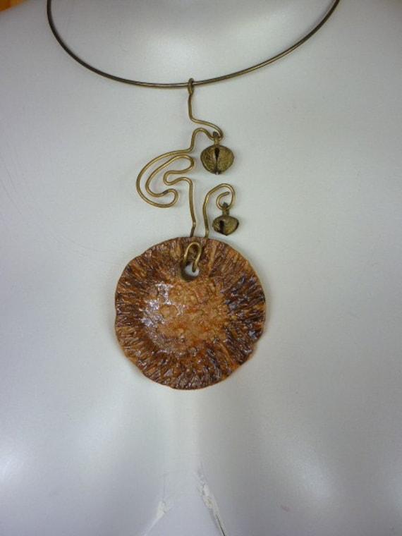1970's Pottery Jewelry Pendant  Choker Ring Necklace Artisan Studio SUN DISK