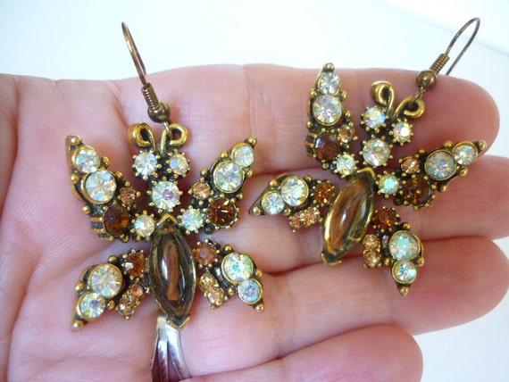 VTG 1950s AB Rhinestone Butterfly Earrings