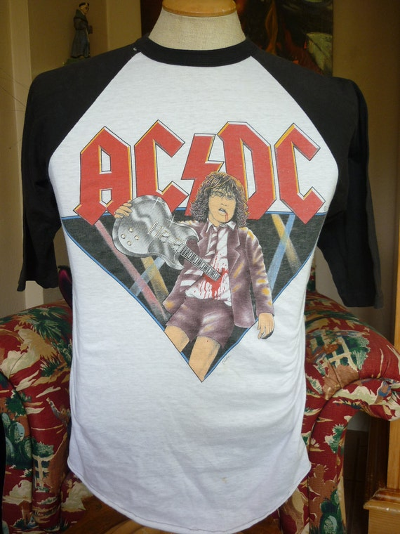 Awesome vtg AC DC Concert T Shirt We Salute You baseball jersey