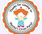 Custom Circus Birthday Labels, Stickers - Personalized for YOU