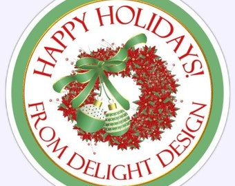 Custom Christmas Holiday Labels, Stickers - 2.5 inch round - Personalized for YOU