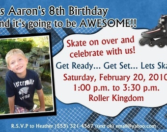 Roller Skating / Roller Blading (Boys) - Birthday Party Invitation, CUSTOM for YOU - 4x6 or 5x7 size