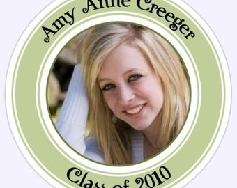 Graduation PHOTO Stickers, Custom High School Senior Labels - 2.5 inch round - Personalized for You