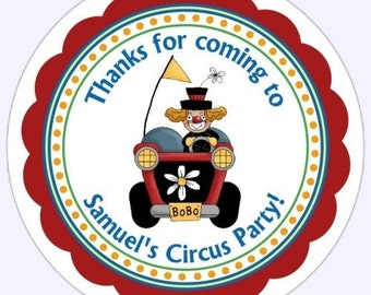 Custom Circus Birthday Labels, Circus Stickers, Personalized Children Stickers,