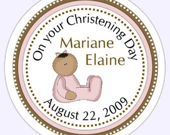 Baby Girl Christening Stickers, Custom Baby Girl Baptims Labels - Personalized for YOU
