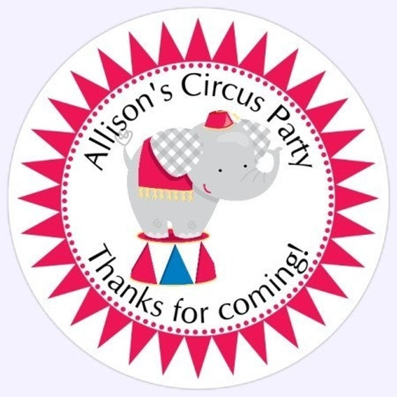 Custom Circus Birthday Labels, Stickers - Personalized Children Stickers, Personalized for YOU