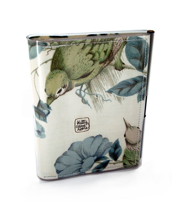 A6 Journal - Birds and leaves design vintage fabric
