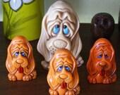 Vintage Kitsch Big Eyed Plastic Dog Pencil Holder & Salt Pepper Shakers