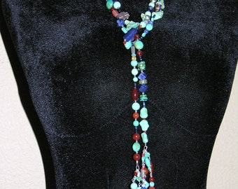 turquoise and african trade bead lariat