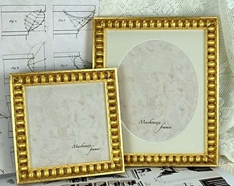 5x5 or 6x6 Gold Boule Picture Frame Square Format for Photos and Small Images