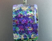 Ready to ship-Waterlily Dichroic Pendant, Handmade Fused Glass Jewelry from North Carolina
