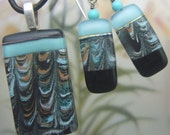Nertiti Enameled Glass Earrings,  Handmade Fused Glass Jewelry