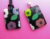 Crimson and Clover Pendant, Handmade Fused Glass Jewelry