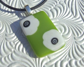 Lime Blooms Pendant, Handmade Fused Glass Jewelry