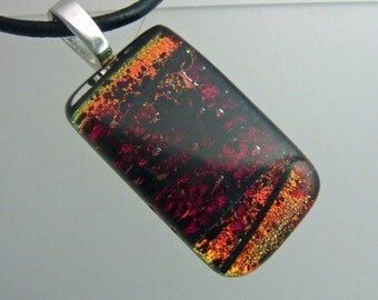 Burning Embers Dichroic Pendant, Handmade Fused Glass Jewelry from North Carolina