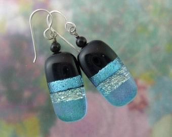 Aqua Ribbons Dichroic Earrings, Fused Glass Jewelry Handmade in North Carolina