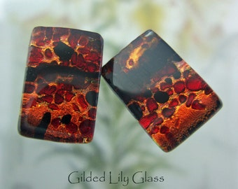 Burning Embers Clip-On Earrings, Fused Glass Jewelry from North Carolina