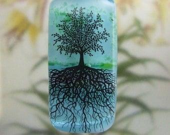 Aqua Tree of Life Pendant, Fused Glass Jewelry Handmade in North Carolina