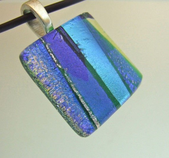 Blue and Green Ribbons Charm, Handmade Fused Glass Jewelry