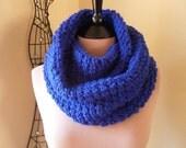 Crochet Infinity Scarf, Olympian Blue Infinity Scarf, Blue Scarf, Crochet Scarf