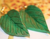 Green Leaf Earrings, Spring in Bloom  Handmade in Italy