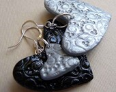 Fun and Funky, Mismatched Heart Earrings, Polymer clay Jewelry