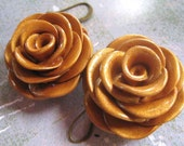 Make New Friends But Keep the Old, Gold Rose Earrings, Large size