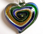 Cobalt Blue, Green, and Gold Glass Heart Necklace