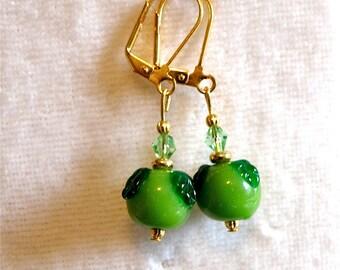 20% OFF -- Granny Smith Apple Lampwork Earrings