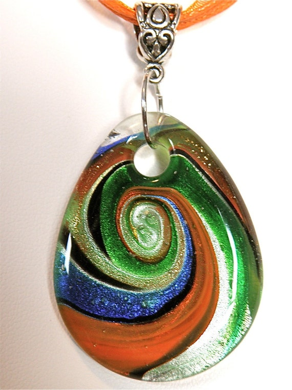 Orange/Green/Blue Lampwork Teardrop and Ribbon Necklace