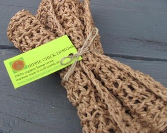 Organic Hemp Twine Washcloths Naturally Dyed in Tea
