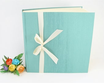 Photo album - aqua with ivory ribbon 50 page -12x12in 30x30cm - Ready to ship