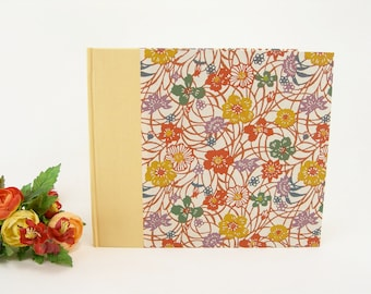 Lined wedding guest book - yellow with wildflowers Japanese katazome paper - 8x9 in 20x23cm - Ready to ship