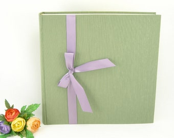 Photo album -  sage with lavender ribbon - 12x12in 30x30cm - Ready to ship