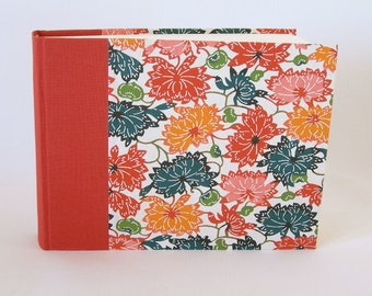 Photo album - red multicolored lotus katazome - 6x8in 15x20.5cm 30 pages - Ready to ship