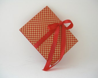 Accordion book -  red and metallic gold Japanese chiyogami (3x4in.)  - Ready to ship