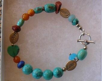 turquoise faith, hope and love bracelet