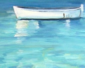 "SERENITY BLUE - Serene & Tranquil  waterscape of floating fishing boat - Open Edition Print  8""x10"""