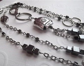 RAVEN....Beaded Lanyard/ID Badge Holder... Shades of Hematite Lanyard Collection