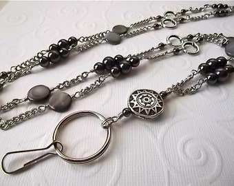 TRENDSETTER.....My Original Beaded Lanyard/ID Badge Holder.... Shades of Hematite Lanyard Collection