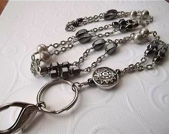 SERENITY.....Beaded Lanyard/ID Badge Holder... Shades of Hematite Collection...