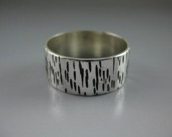 silver bark ring, birch bark, eco-friendly silver, wedding band, silver textured band,