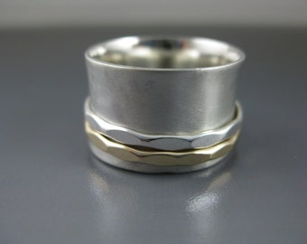 sterling silver spinner ring with satin finish and silver and gold spinners, wedding band, wide band, mixed metal ring, recycled silver