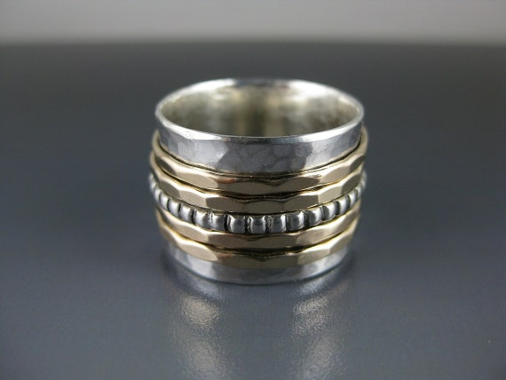 silver spinner ring with five spinners, spinner ring, meditation ring, fidget ring, mixed metal ring, eco-friendly ring