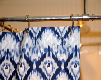 Ikat Shower curtain in navy blue