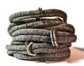 Bracelet Cuff Women - Bracelet Womens Cuff - Gray w/ rings - Womans Bracelet - Bracelet - Cuff